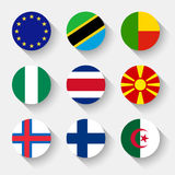 Flags of the world, round buttons Royalty Free Stock Photo