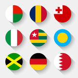 Flags of the world, round buttons Stock Image