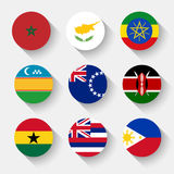 Flags of the world, round buttons. Flags of the world, set 24 with shadow Stock Image