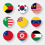 Flags of the world, round buttons vector illustration