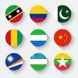 Flags of the world, round buttons Royalty Free Stock Photography