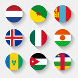 Flags of the world, round buttons Stock Photo
