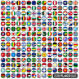 Flags of the world. Rounded squares, big set Royalty Free Stock Images