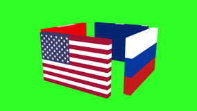 Flags of the world's major powers revolve around. Green screen background. stock video footage