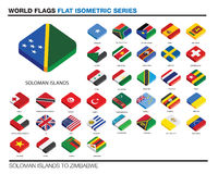 Flags of the world, s-z,  3d isometric flat icon d Royalty Free Stock Image
