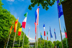 Flags of the World. A sea of ​​flags of different nations and organization Stock Photos