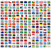 Flags of the world, with shadow Stock Image