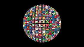 Flags of the World Sphere Rotating stock footage