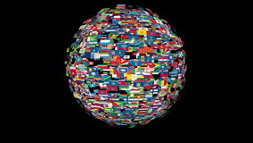 Flags of the World Sphere Rotating, Loop, Alpha, stock footage