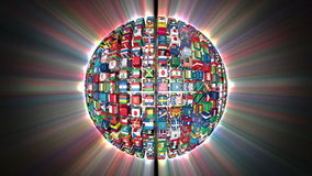 Flags of the World Sphere Rotating stock video footage