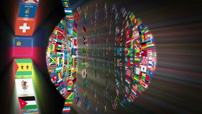 Flags of the World sphere, shining stock footage
