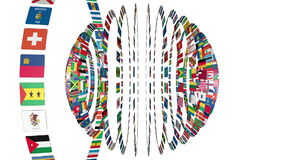 Flags of the World sphere stock footage