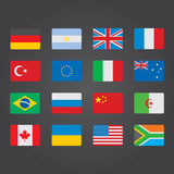 Flags  of the world. Vector illustration in flat style Royalty Free Stock Photography