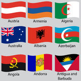 9 flags of world. Vector set. Vector royalty free illustration