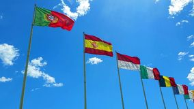 Flags of The World Wave on a Wind. Flags of The Countries of The World Wave on a Wind stock video footage