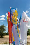 Flags of World Youth Day 2016 in the Centre of Pope John Paul II in Lagiewniki. Stock Photos