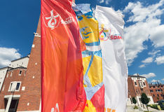 Flags of World Youth Day 2016 in the Centre of Pope John Paul II in Lagiewniki. Royalty Free Stock Photos