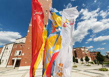 Flags of World Youth Day 2016 in the Centre of Pope John Paul II in Lagiewniki. Stock Images