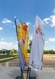 Flags of World Youth Day 2016 in the Centre of Pope John Paul II in Lagiewniki. Cracow. Stock Photo
