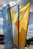 Flags of World Youth Day 2016 in the Centre of Pope John Paul II in Lagiewniki. Cracow. Poland Stock Photography