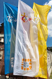 Flags of World Youth Day 2016 in the Centre of Pope John Paul II in Lagiewniki. Cracow. Poland Stock Photo