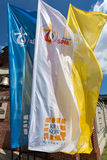 Flags of World Youth Day 2016 in the Centre of Pope John Paul II in Lagiewniki. Cracow. Poland Royalty Free Stock Photo