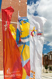 Flags of World Youth Day 2016 in the Centre of Pope John Paul II in Lagiewniki. Cracow Stock Photo