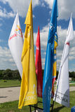 Flags of World Youth Day 2016 in the Centre of Pope John Paul II in Lagiewniki. Cracow. Poland Stock Image