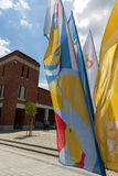 Flags of World Youth Day 2016 in the Centre of Pope John Paul II in Lagiewniki. Cracow. Poland Royalty Free Stock Photography