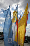 Flags of World Youth Day 2016 in the Centre of Pope John Paul II in Lagiewniki. Stock Image