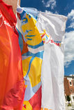 Flags of World Youth Day 2016 in the Centre of Pope John Paul II in Lagiewniki. Royalty Free Stock Images