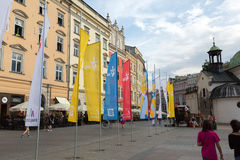 Flags of World Youth Day 2016 on Main Square in Cracow Royalty Free Stock Photography