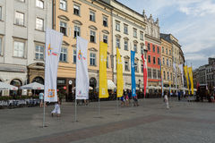 Flags of World Youth Day 2016 on Main Square in Cracow. Poland Stock Images