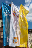 Flags of World Youth Day 2016. In the Sanctuary of Divine Mercy in Lagiewniki. Cracow. Poland Stock Images