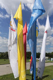 Flags of World Youth Day 2016. In the Sanctuary of Divine Mercy in Lagiewniki. Cracow. Poland Stock Photography