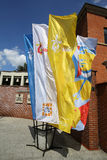 Flags of World Youth Day 2016. In the Sanctuary of Divine Mercy in Lagiewniki. Cracow. Poland Royalty Free Stock Images