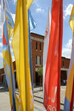 Flags of World Youth Day 2016 in the Sanctuary of Divine Mercy in Lagiewniki. Cracow. Stock Photos