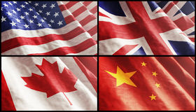 Flags XL. USA, England, Canada and China Stock Photos