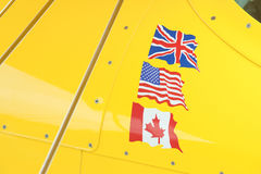 Flags on yellow Royalty Free Stock Photo