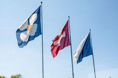 Flags of Zurich and Switzerland Royalty Free Stock Photo