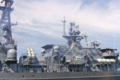 Flagship military ship in gulf. Royalty Free Stock Photography
