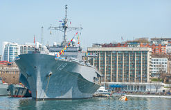 Flagship military ship of US Navy 7th Fleet in russian port. Vladivostok Stock Images