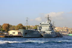 Flagship of NATO. ISTANBUL - AUG 26: Three ships of NATO Mine Countermeasures Group arrive on August 26, 2013 in Istanbul. German contribution to SNMCMG-2. M Royalty Free Stock Images