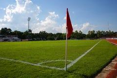 Flagstaff λάκτισμα γωνιών στο αγωνιστικό χώρο ποδοσφαίρου Khonkaen , Ταϊλάνδη , 05 Στοκ Φωτογραφία