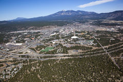 Flagstaff, Arizona. Aerial view of the City of Flagstaff, Arizona and Interstate 40 in the foreground Royalty Free Stock Photography