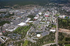 Flagstaff, Arizona. Aerial view of Northern Arizona University and Flagstaff, Arizona Stock Image
