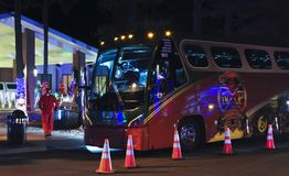 A Little America Hotel Flagstaff North Pole Experience Bus. FLAGSTAFF, ARIZONA, NOVEMBER 22. Little America Hotel Flagstaff on November 22, 2017, in Flagstaff stock images