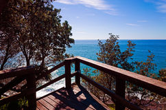 Flagstaff lookout overlooking the sea in Port Macquarie Australi. Flagstaff lookout overlooking the sea in Port Macquarie, Australia. Wooden viewing platform on Royalty Free Stock Photos