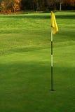 Flagstaff verde e amarelo do golfe fotos de stock royalty free