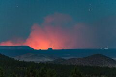 Flagstaff view of Fuller Fire (GCNP) Royalty Free Stock Images